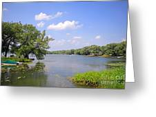Cottage And Lake Greeting Card by Charline Xia