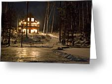 Cottage Country - Winter Greeting Card by Pat Speirs