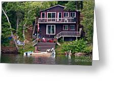 Cottage On The Water Greeting Card by Les Palenik