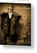 Count Dracula In Sepia Greeting Card by John Malone