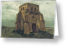 Country Churchyard And Old Church Tower Greeting Card by Vincent Van Gogh