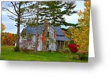 Country Cottage Greeting Card by Julie Dant
