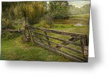 Country - Gate - Rural simplicity  Greeting Card by Mike Savad