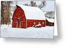 Country Holiday Barn Greeting Card by Teri Virbickis