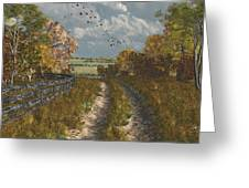 Country Lane In Fall Greeting Card by Jayne Wilson