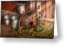 Country - Some Dented Pails And An Old Wheel  Greeting Card by Mike Savad