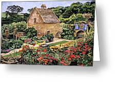 Country Stone Manor House Greeting Card by David Lloyd Glover
