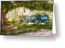 Country - The old wagon out back  Greeting Card by Mike Savad