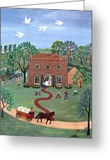 Country Visit Greeting Card by Linda Mears