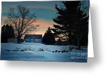 Countryside Winter Evening Greeting Card by Joy Nichols