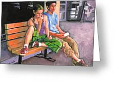 Couple Eating A Snack Greeting Card by Dominique Amendola