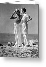 Couple On The Maine Shore Greeting Card by Underwood Archives