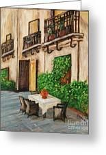 Courtyard Seating Greeting Card by JoAnn Wheeler