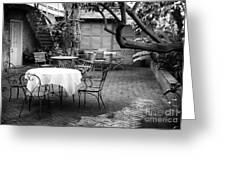 Courtyard Seating Greeting Card by John Rizzuto