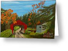 Covered Bridge Greeting Card by Anthony Dunphy