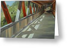 Covered Bridge At Roswell Mill Greeting Card by Jean Scanlin Wright