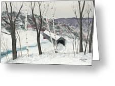 Covered Bridge Greeting Card by George Burr