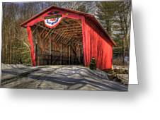 Covered Bridge In Snow Greeting Card by Patti Burnett
