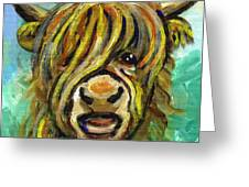Cow Face 101 Greeting Card by Linda Mears