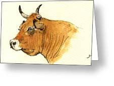 Cow Head Study Greeting Card by Juan  Bosco