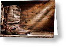 Cowboy Boots On Wood Floor Greeting Card by Olivier Le Queinec
