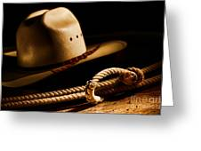 Cowboy Hat And Lasso Greeting Card by Olivier Le Queinec