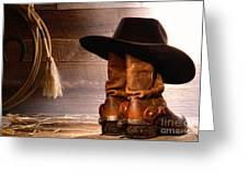 Cowboy Hat On Boots Greeting Card by Olivier Le Queinec