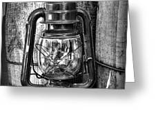 Cowboy themed Wood Barrels and Lantern in black and white Greeting Card by Paul Ward