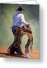Cowboy With Saddle Greeting Card by Randy Follis
