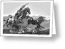 Cowboys And Longhorns Greeting Card by Jack Pumphrey