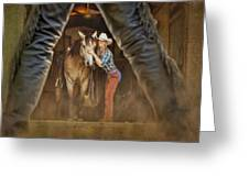 Cowgirl And Cowboy Greeting Card by Susan Candelario