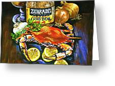 Crab Fixin's Greeting Card by Dianne Parks
