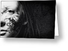 Cracked Face Greeting Card by Erik Brede