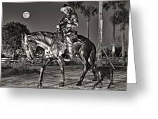 Cracker Cowboy And Full Moon Greeting Card by Betty Eich