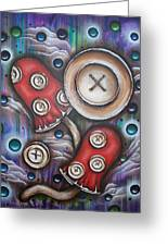 Crazy Button Mushrooms Greeting Card by Krystyna Spink