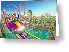 Crazy Coaster Greeting Card by Adrian Chesterman