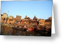 Cremation Ghat Of Varanasi Greeting Card by Money Sharma