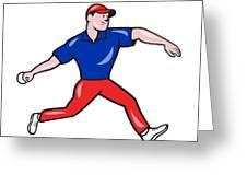 Cricket Bowler Bowling Ball Side Greeting Card by Aloysius Patrimonio