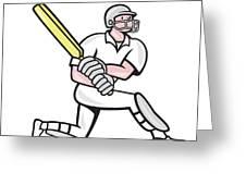 Cricket Player Batsman Batting Kneel Cartoon Greeting Card by Aloysius Patrimonio