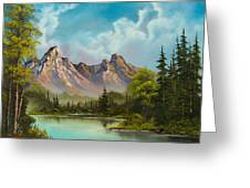 Crimson Mountains Greeting Card by C Steele