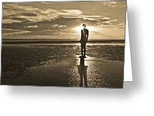 Crosby Beach Sepia Sunset Greeting Card by Paul Madden