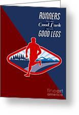 Cross Country Runner Retro Poster Greeting Card by Aloysius Patrimonio