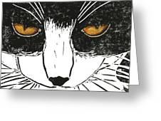 Cross Kitty Greeting Card by Kerrie  Hubbard