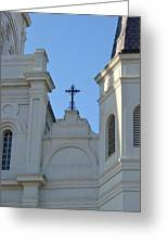 Cross On The Cathedral Greeting Card by Margaret Bobb