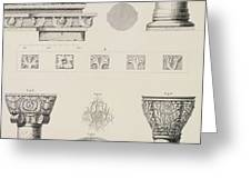 Cross section and architectural details of Kutciuk Aja Sophia the church of Sergius and Bacchus Greeting Card by D Pulgher