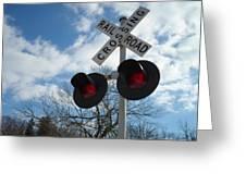 Cross The Railroad Greeting Card by Jenna Mengersen