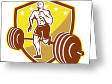 Crossfit Athlete Runner Barbell Shield Retro Greeting Card by Aloysius Patrimonio