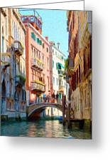 Crossing The Canal Greeting Card by Jeff Kolker