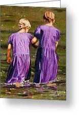 Crossing The Water Greeting Card by John W Walker