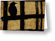 Crow And Golden Light Number 1 Greeting Card by Carol Leigh